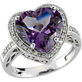Amethyst and Diamond Violet Heart Halo Ring 5.66 Cts.  in 14K White Gold - Roxx Fine Jewelry