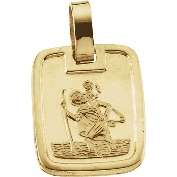 St. Christopher Square Medal in 18K Yellow Gold