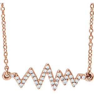 Heartbeat Diamond Necklace in 14K Rose, White or Yellow Gold - Roxx Fine Jewelry