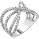 Fancy X Criss Cross Diamond Ring  .90 Ct. in 14K White Gold - Roxx Fine Jewelry