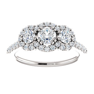 1.00 Ct. Triple Halo Diamond Engagement Ring 14K White Gold - Roxx Fine Jewelry