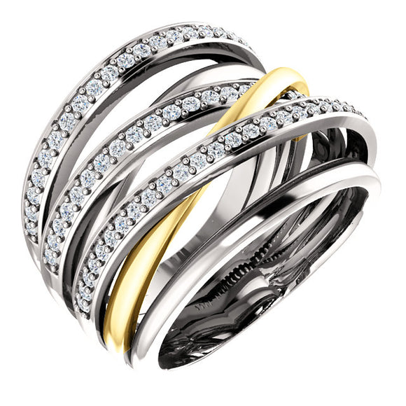 Diamond Highway Ring .50 Ct. in 14K White Gold or Two Tone Gold - Roxx Fine Jewelry