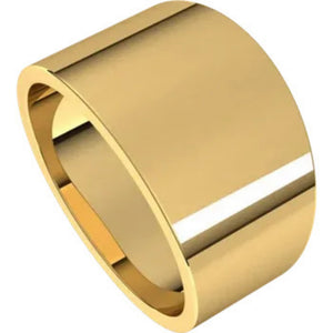 Flat Top 12mm Wide Tapered Band in 14K Yellow Gold