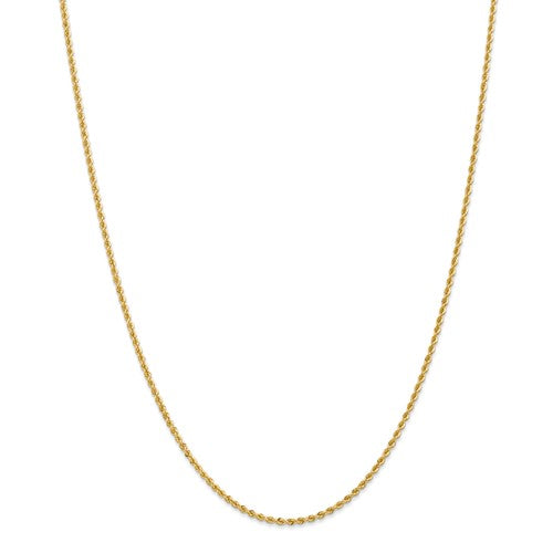 Solid Rope Chain 2mm in 14K Yellow Gold