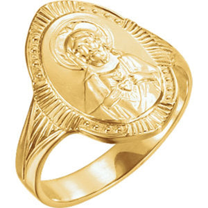Sacred Heart of Jesus Ring in 14K Yellow Gold - Roxx Fine Jewelry