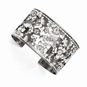 Leslie's™ Lace Flower Cuff Bracelet Sterling Silver and Black Ruthenium - Roxx Fine Jewelry