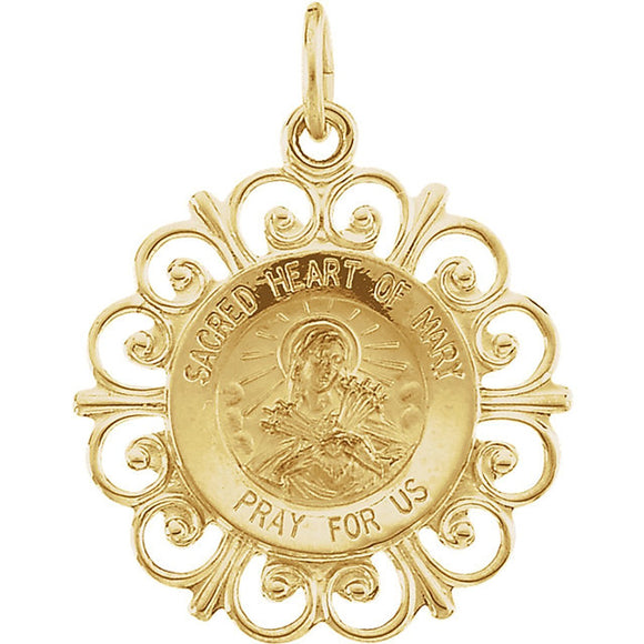 Sacred Heart of Mary Filigree Framed Medal in 14K Yellow Gold - Roxx Fine Jewelry