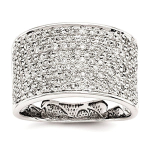 Pave Diamond Ring 1 ct. 11.9mm Wide Band in 14K White Gold - Roxx Fine Jewelry