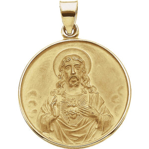 Sacred Heart of Jesus Medal in 18K Yellow Gold - Roxx Fine Jewelry