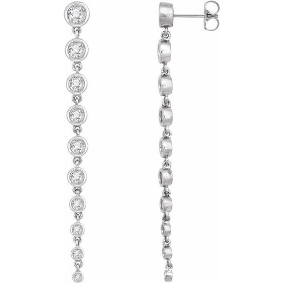 302® Linear Drop Earrings featuring 2 Cts. TCW Lab Grown Diamonds in 14K Gold