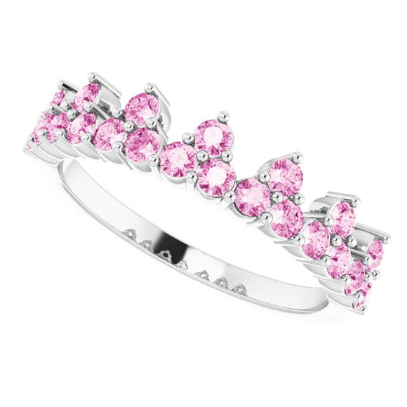 302® Fine Jewelry Princess Crown Ring with Pink Sapphires in 14K Gold