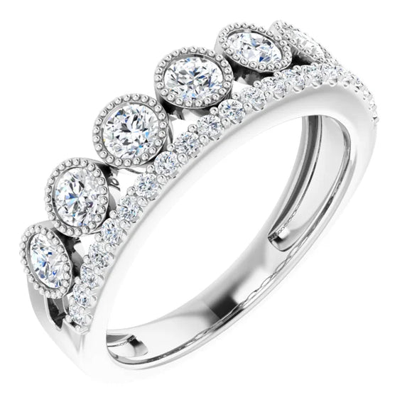 302® Fine Jewelry Granulated Princess Crown Ring with 1 Ct. of Lab Grown Created Diamonds