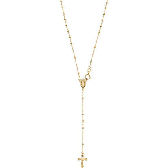 Rosary Necklace with Miraculous Medal Center in 14K Yellow Gold - Roxx Fine Jewelry