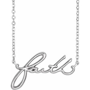 Faith Cursive Necklace in 14K Rose, White or Yellow Gold, Platinum and Sterling - Roxx Fine Jewelry