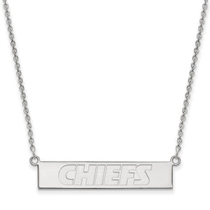 "Kansas City Chiefs® Engraved Bar 18"" Necklace in 14K Gold Officially Licensed by the NFL® - Roxx Fine Jewelry"