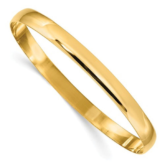 Eternity Bangle Bracelet 6mm or 8mm Slip On in 14K Gold - Roxx Fine Jewelry