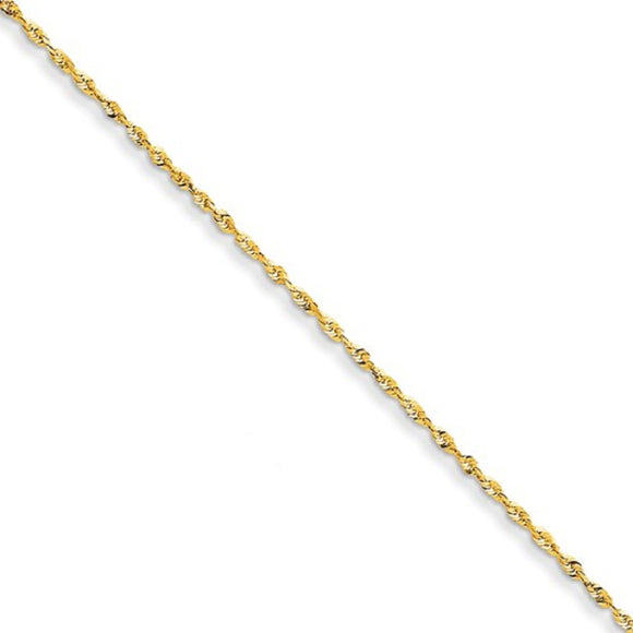 1.3mm Diamond Cut Twisted Rope Chain in 14K Yellow Gold