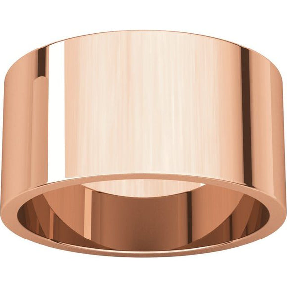 Flat Top 10mm Wide Barrel Style Wedding Band in 14K Rose Gold