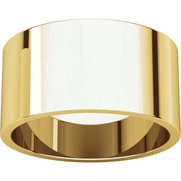 Flat Top 10mm Wide Barrel Style Wedding Band in 14K Yellow Gold