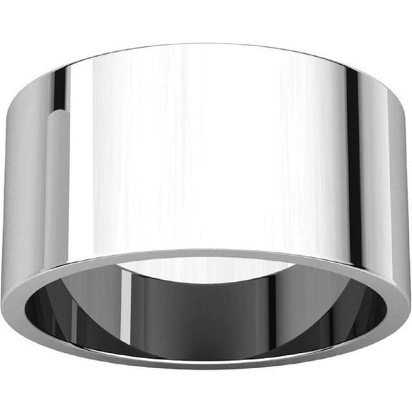 Flat Top 10mm Wide Barrel Style Wedding Band in 14K White Gold
