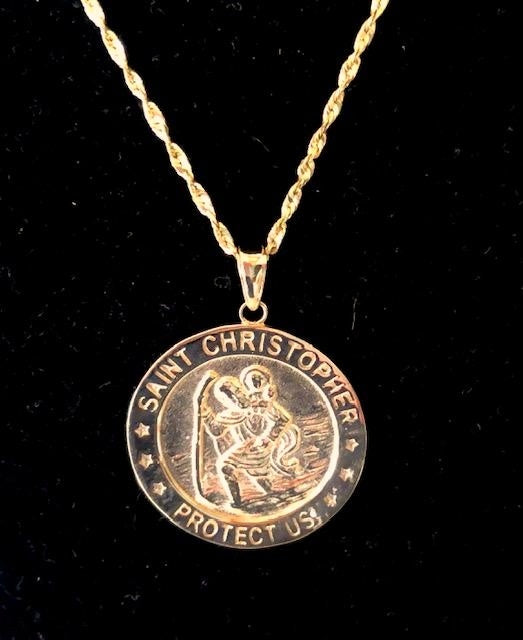 St. Christopher Medal 36 x 26 in 14K Yellow Gold - Roxx Fine Jewelry