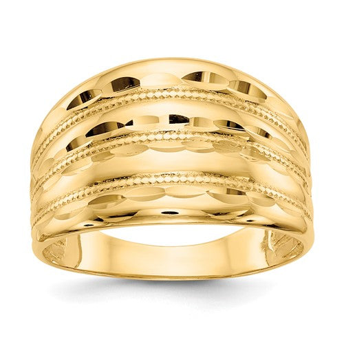 13mm Diamond Cut Cigar Band Ring in 14K Yellow Gold