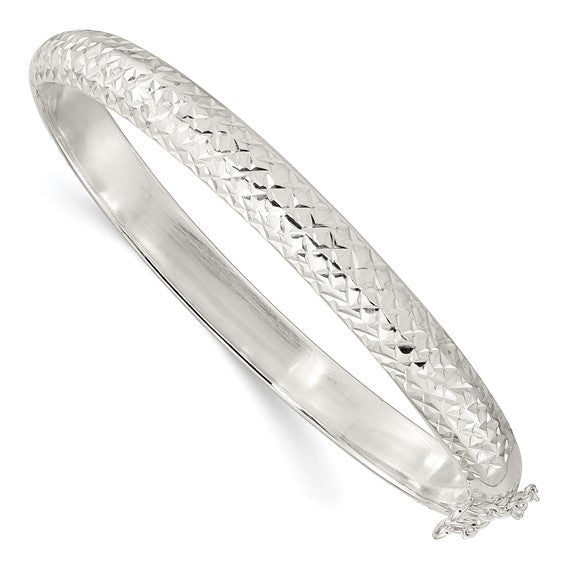 Hinged Bangle Bracelet 7.00mm Half Round in Sterling Silver in 4 Finishes