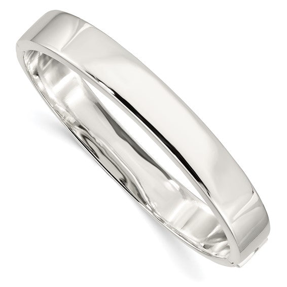 Square Edge Hinged Bangle Bracelet 9.75mm in Sterling Silver