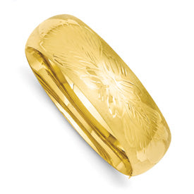 "Wide Florentine Engraved Bangle Bracelet 11/16"" in 14K Yellow Gold - Roxx Fine Jewelry"