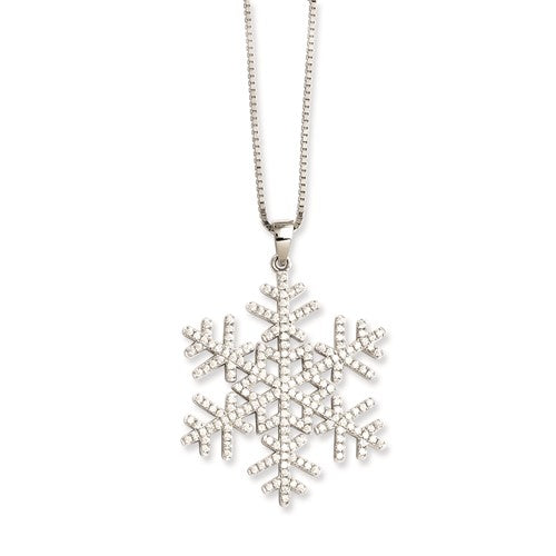 Snowflake CZ Necklace in Sterling Silver 18