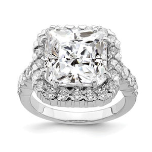 Faux and Fabulous™ 10 Ct Asscher CZ Halo Ring in Sterling Silver - Roxx Fine Jewelry