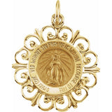 Miraculous Medal Round Filigree in 14K Gold - Roxx Fine Jewelry