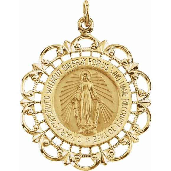 Miraculous Medal Round Filigree in 14K Gold