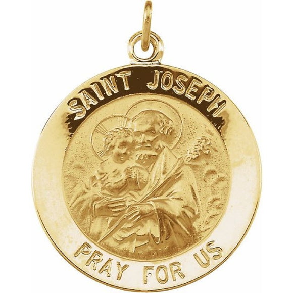 St. Joseph Medal in 14K Yellow Gold 4 Sizes - Roxx Fine Jewelry
