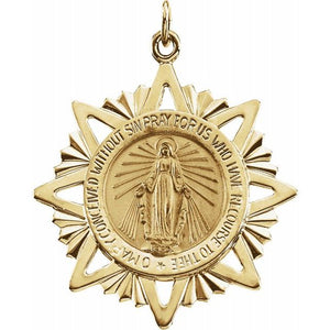 Miraculous Medal 25mm Round with Starburst Frame in 14K Yellow Gold - Roxx Fine Jewelry