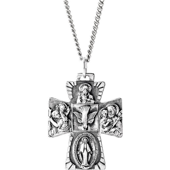 Gothicic Four-Way Cross Necklace in Sterling Silver - Roxx Fine Jewelry