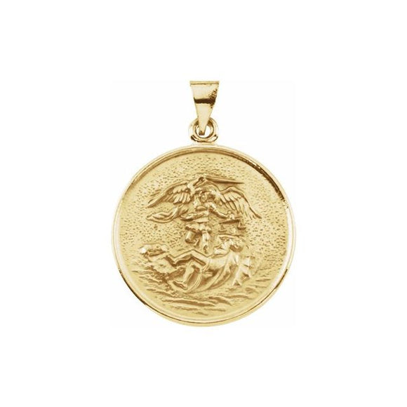 St Michael Medal in 18K Yellow Gold - Roxx Fine Jewelry