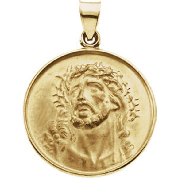 Face of Jesus Medal in 18K Yellow Gold 25mm - Roxx Fine Jewelry