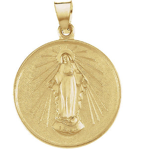 Miraculous Medal Round 33 x 25mm in 18K Yellow Gold - Roxx Fine Jewelry