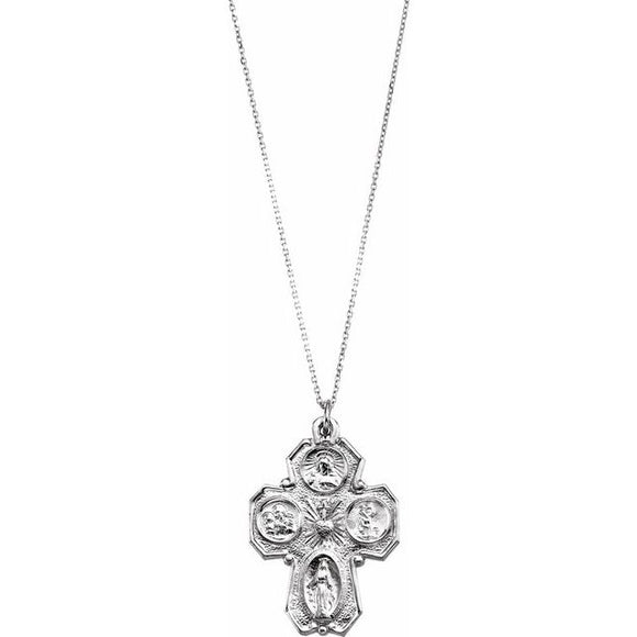 Antiqued Gothic Four-Way Cross Necklace in Sterling Silver