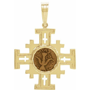 Jerusalem Cross Pendant in 14K Yellow Gold with Widow's Mite Coin Inlay - Roxx Fine Jewelry