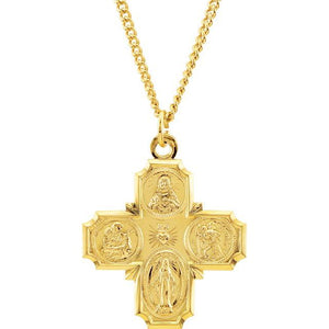 Four-Way Cross Necklace 24K Gold Plated - Roxx Fine Jewelry