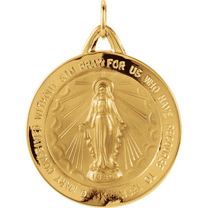 Miraculous Medal Round in 14K Yellow Gold - Roxx Fine Jewelry