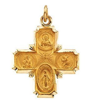 Four Way Cross Pendant 30 x 29mm Satin Finish Polished Edge in 14K Yellow Gold - Roxx Fine Jewelry