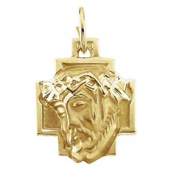 Face of Jesus Medal Pendant in 14K Yellow Gold - Roxx Fine Jewelry