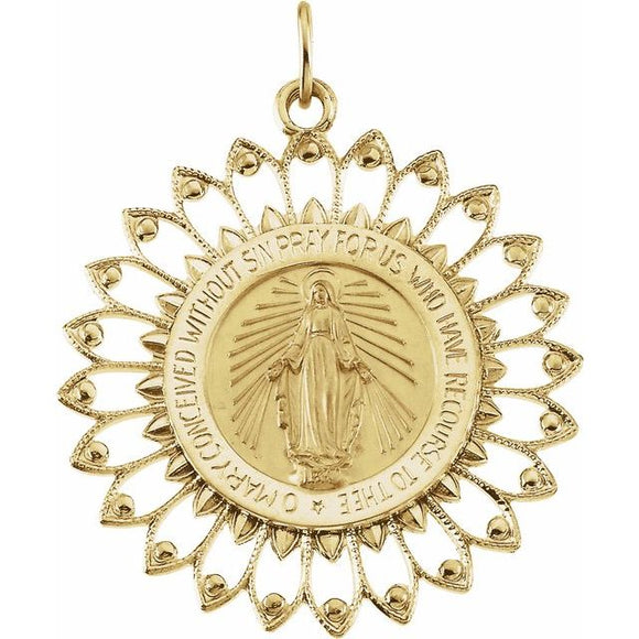 Miraculous Medal 25mm Round with Feather Frame in 14K Yellow Gold