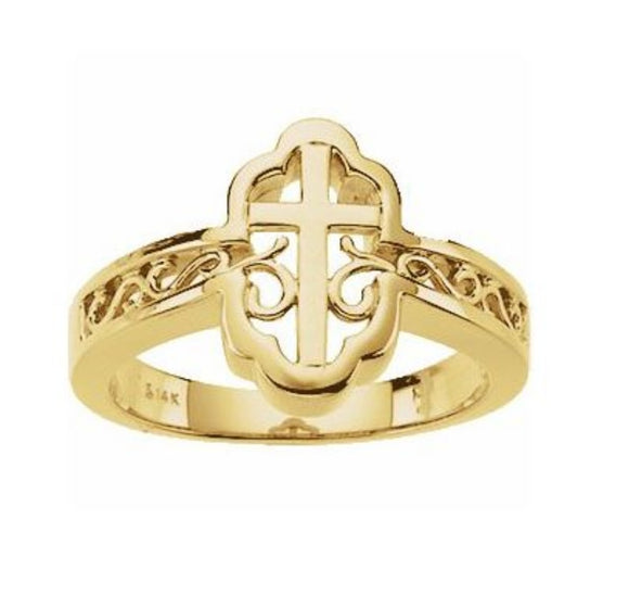 Ornate Cross Ring for Ladies in White or Yellow Gold