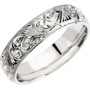 "Hand Engraved Band 6mm ""Michael"" Comfort Fit with Milgrain Edge in 14K White Gold - Roxx Fine Jewelry"