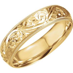 "Hand Engraved Band 6mm ""Dalton"" Comfort Fit Band with Milgrain Edge in 18K Yellow Gold - Roxx Fine Jewelry"