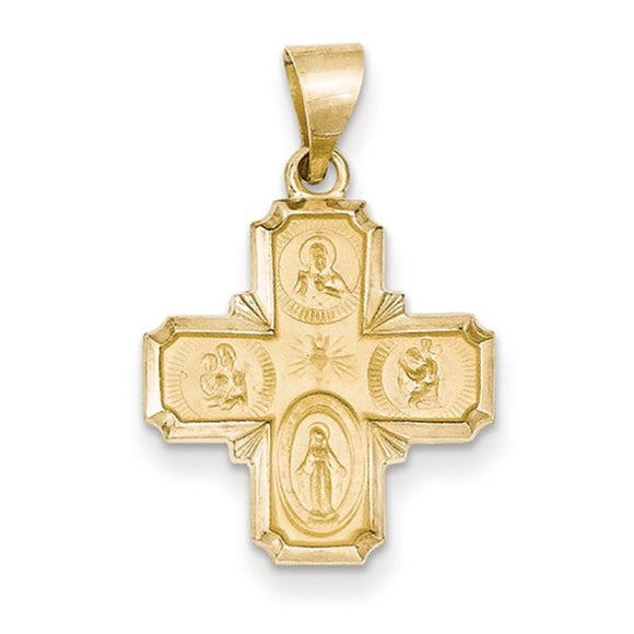 Petite Four Way Cross Medal in 14K White or Yellow Gold 22 x 18 - Roxx Fine Jewelry